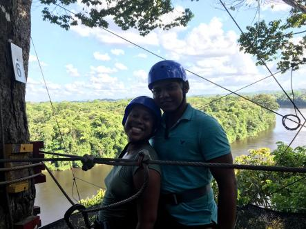 About to zip line across the Suriname River