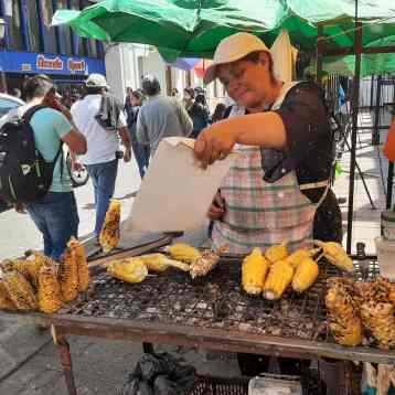 Roasted Corn rubbed in cheese sold on the corner of the street