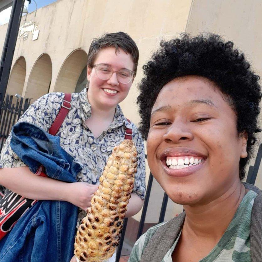 Madison & I trying the roasted corn